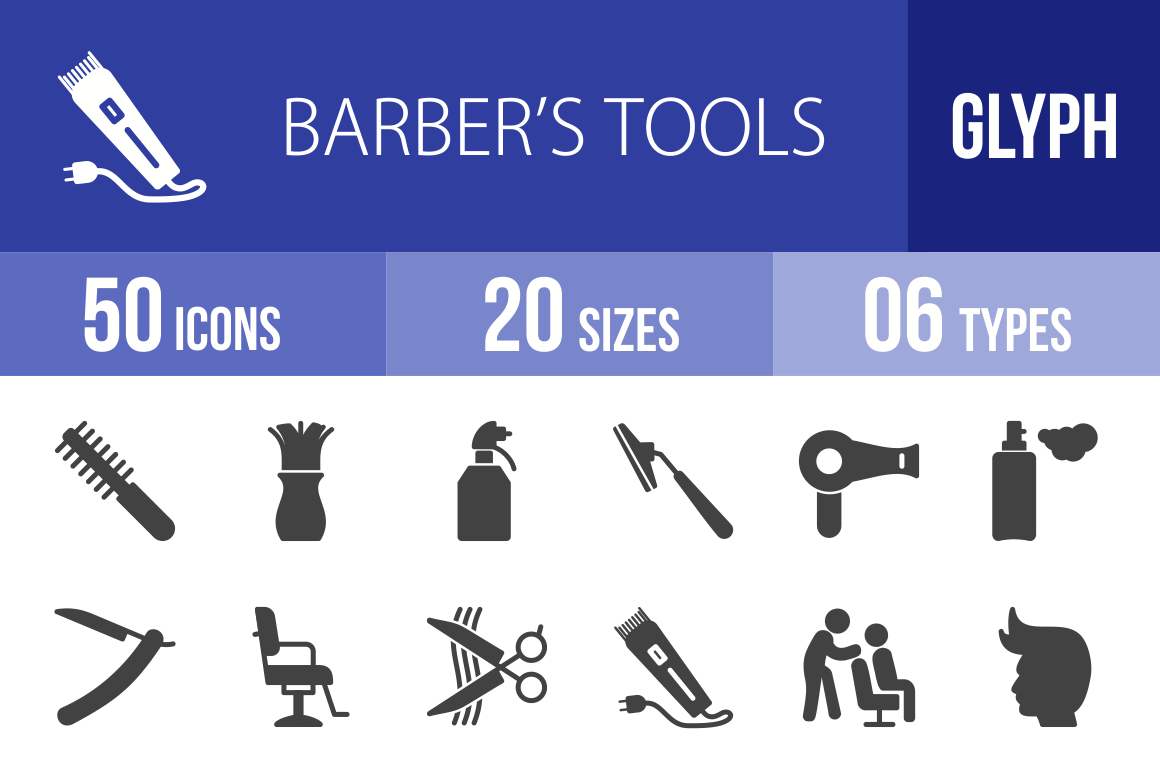 50 Barber's Tools Glyph Icons - Overview - IconBunny