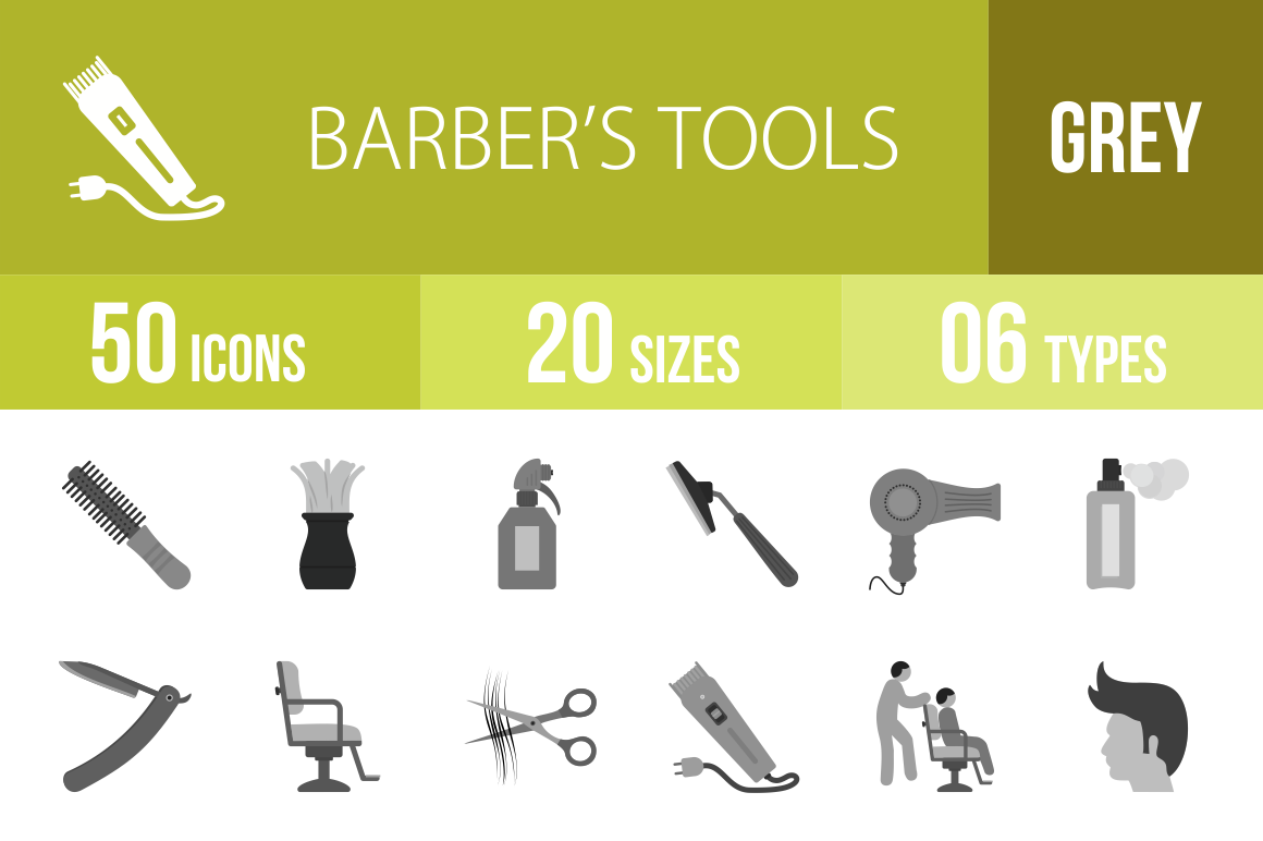 50 Barber's Tools Greyscale Icons - Overview - IconBunny