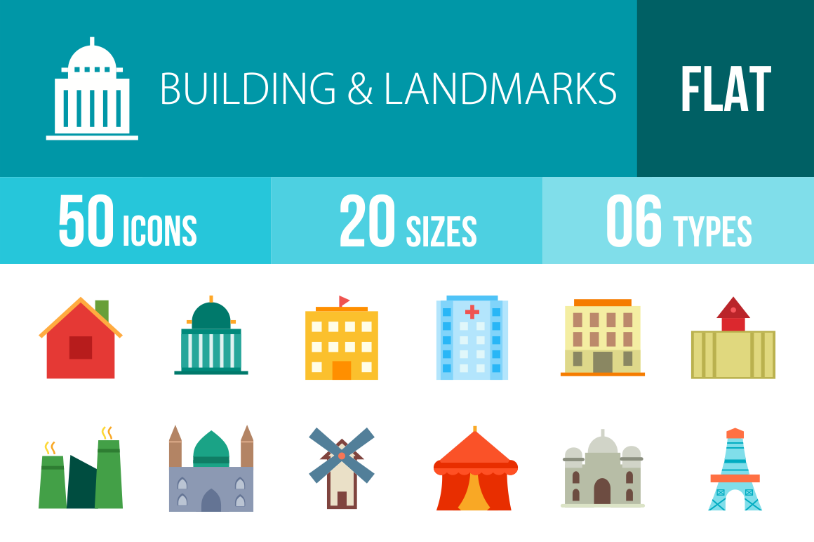 50 Buildings & Landmarks Flat Multicolor Icons - Overview - IconBunny