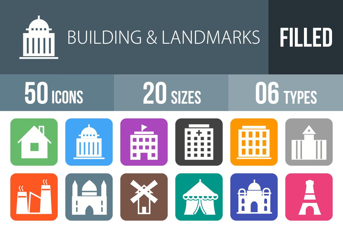 50 Buildings & Landmarks Flat Round Corner Icons - Overview - IconBunny