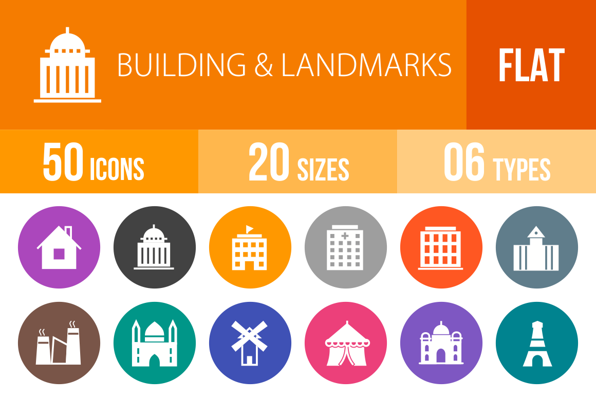 50 Buildings & Landmarks Flat Round Icons - Overview - IconBunny