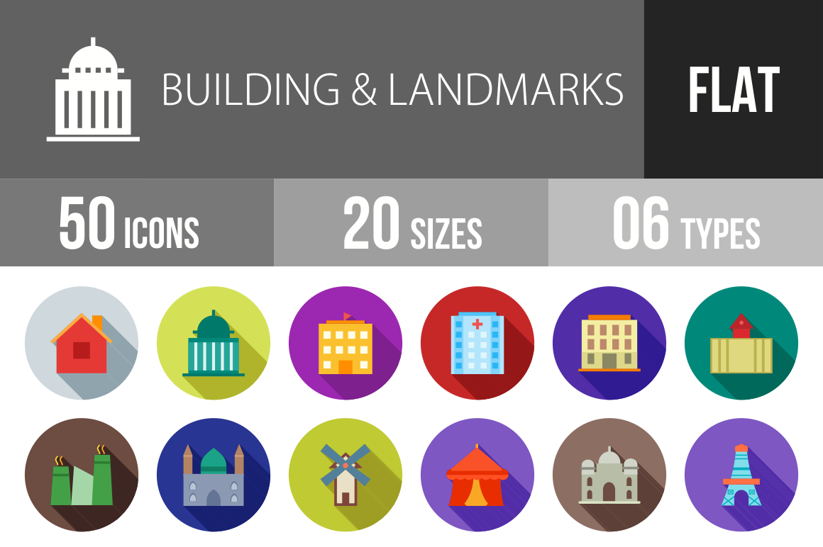 50 Buildings & Landmarks Flat Shadowed Icons - Overview - IconBunny
