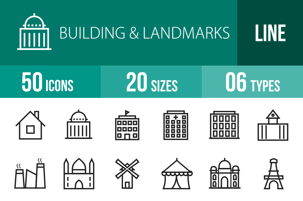 50 Buildings & Landmarks Line Icons - Overview - IconBunny