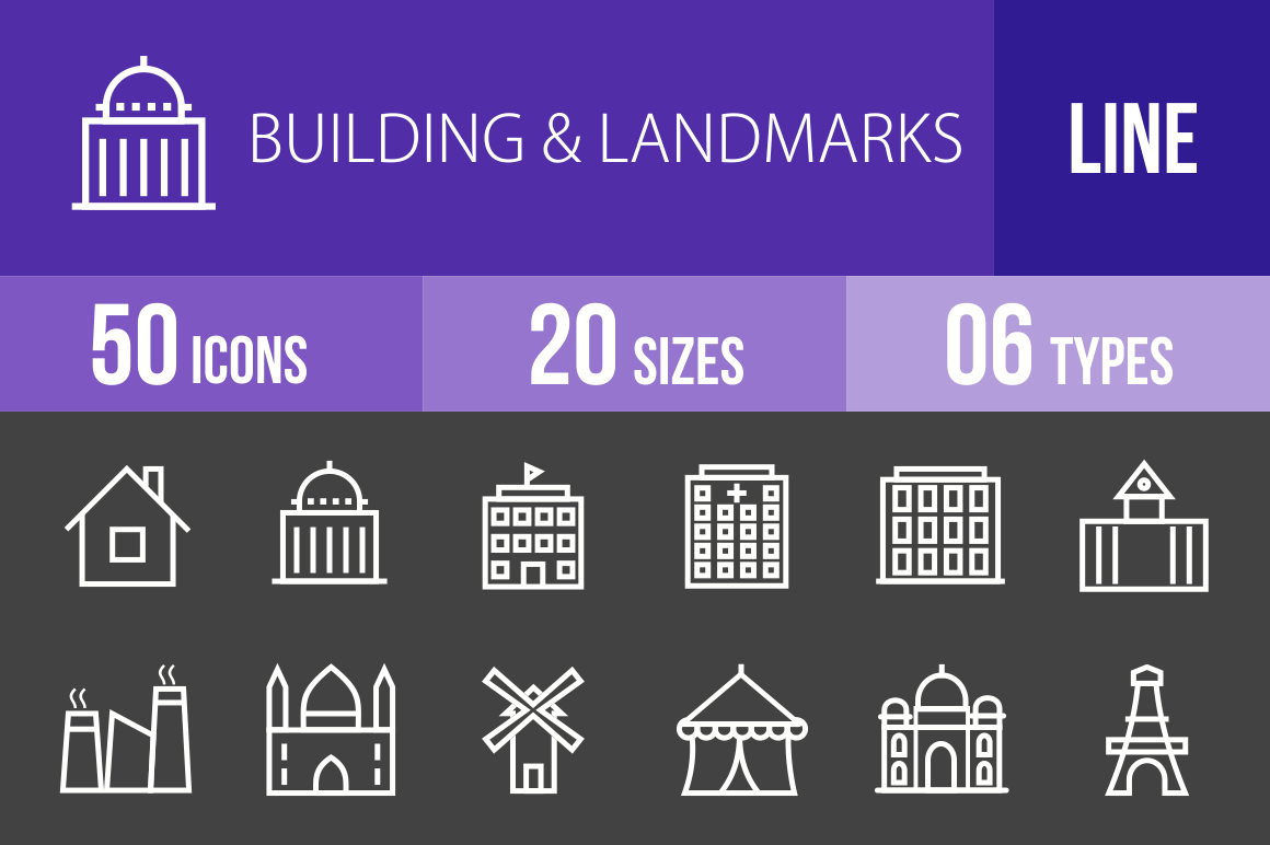 50 Buildings & Landmarks Line Inverted Icons - Overview - IconBunny