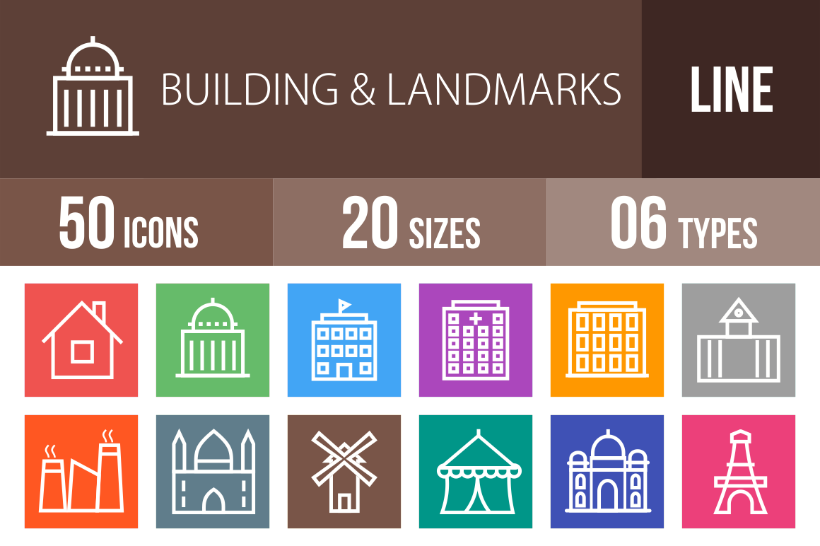 50 Buildings & Landmarks Line Multicolor B/G Icons - Overview - IconBunny