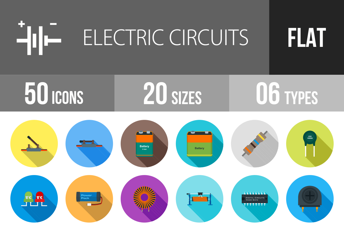50 Electric Circuits Flat Shadowed Icons Iconbunny Electriccircuits Overview