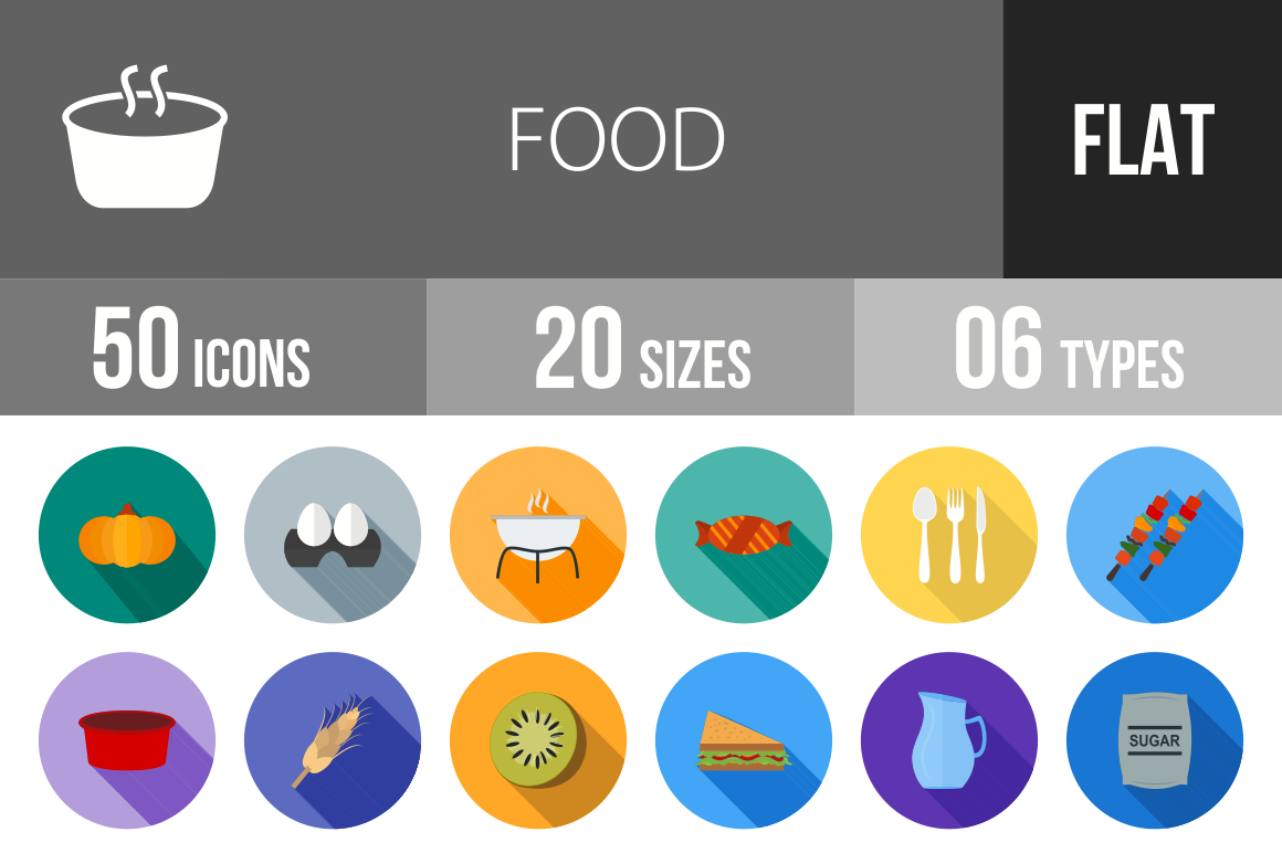 50 Food Flat Shadowed Icons - Overview - IconBunny