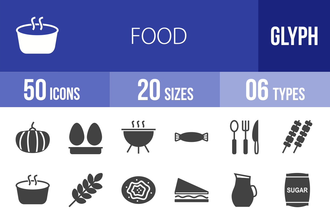 50 Food Glyph Icons - Overview - IconBunny