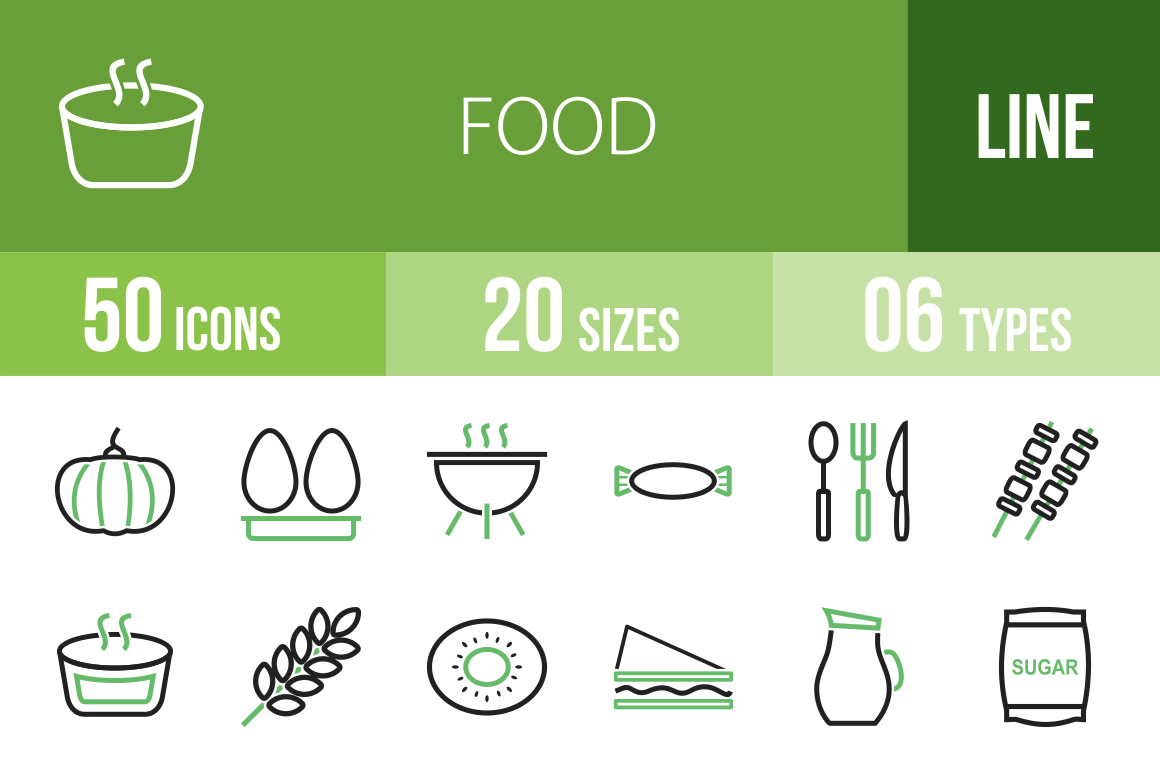 50 Food Line Green & Black Icons - Overview - IconBunny
