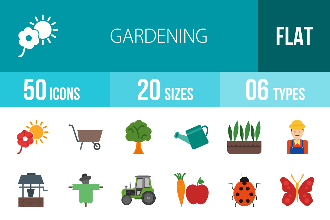 50 Gardening Flat Multicolor Icons - Overview - IconBunny