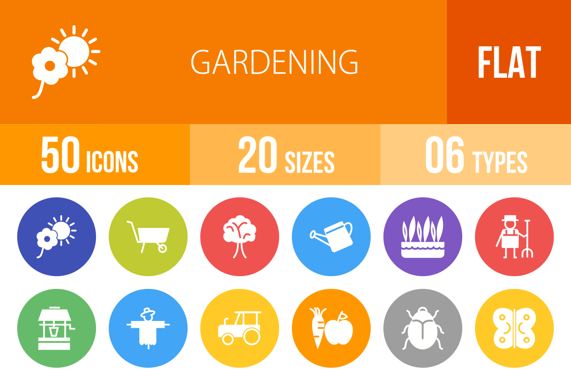 50 Gardening Flat Round Icons - Overview - IconBunny