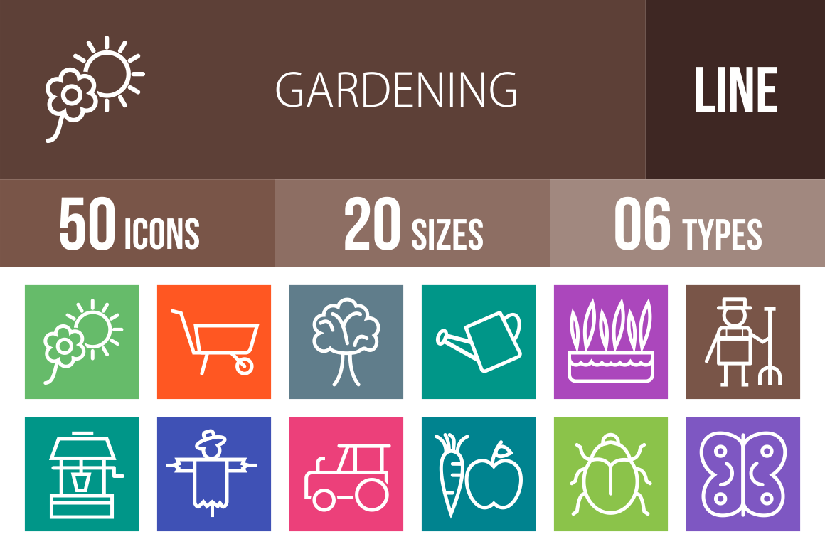 50 Gardening Line Multicolor B/G Icons - Overview - IconBunny