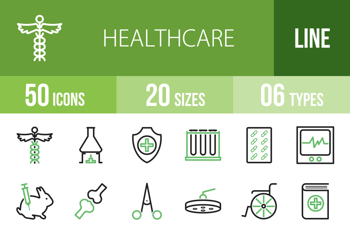 50 Healthcare Line Green & Black Icons - Overview - IconBunny