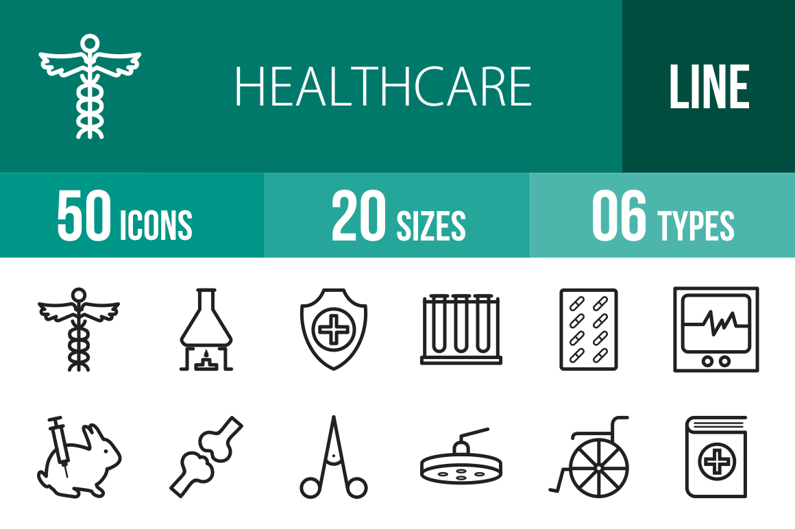 50 Healthcare Line Icons - Overview - IconBunny