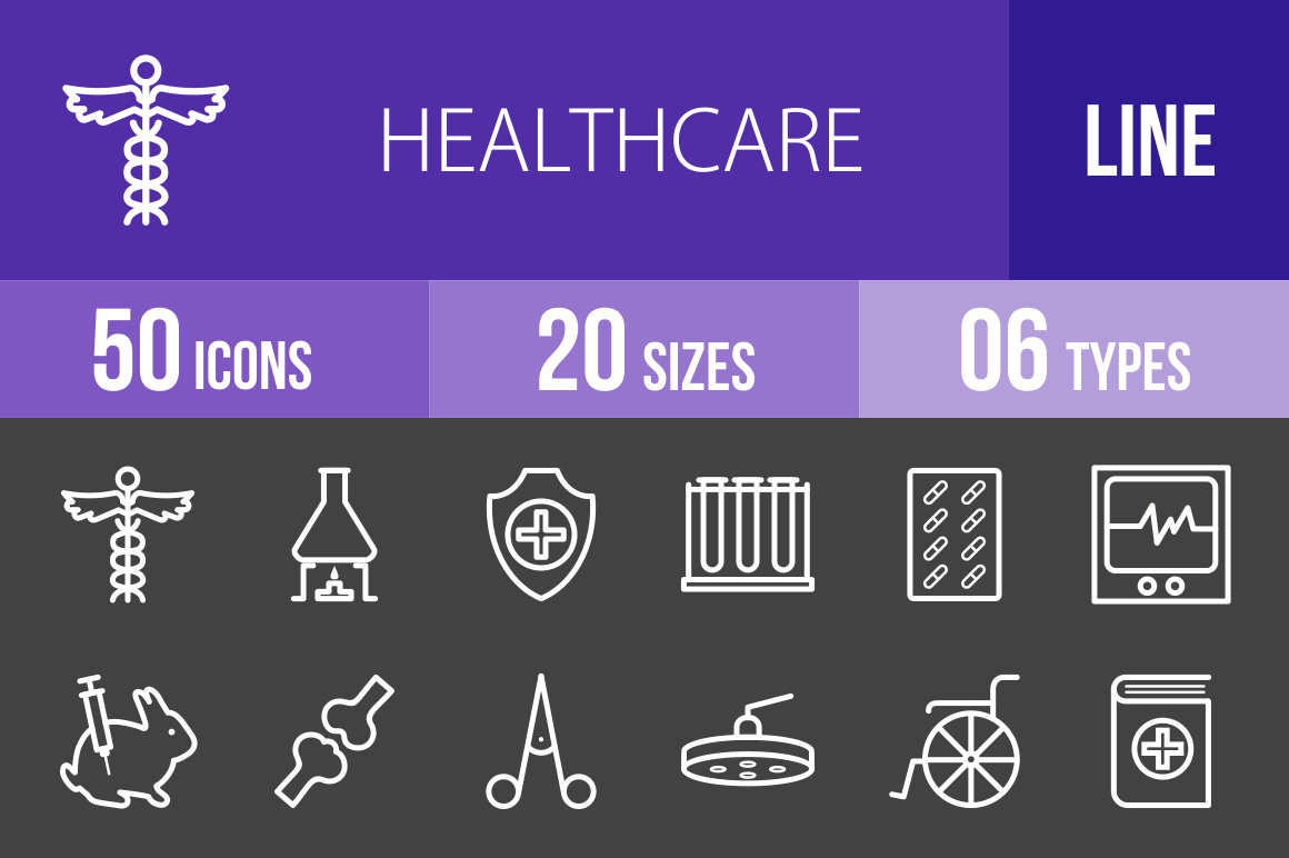 50 Healthcare Line Inverted Icons - Overview - IconBunny