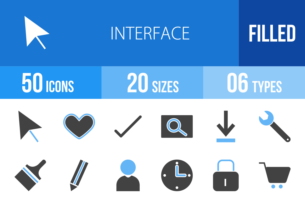 50 Interface Blue & Black Icons - Overview - IconBunny