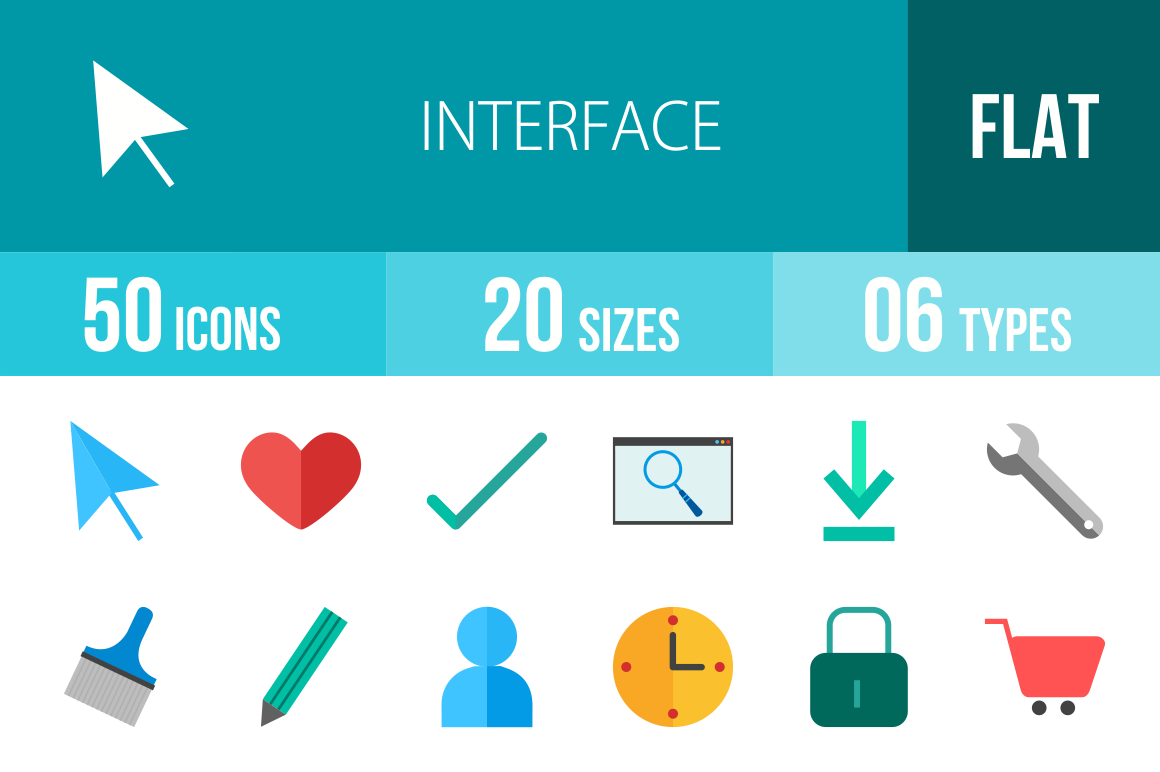 50 Interface Flat Multicolor Icons - Overview - IconBunny