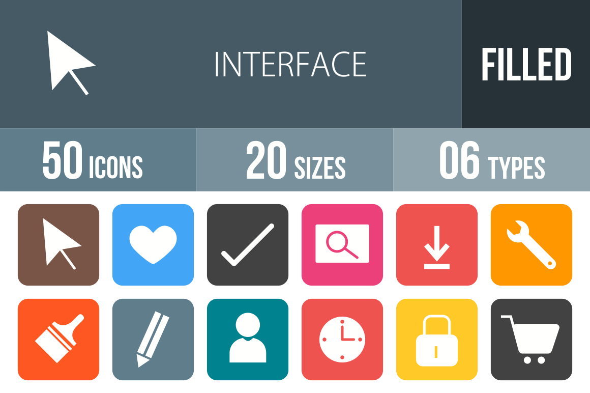 50 Interface Flat Round Corner Icons - Overview - IconBunny