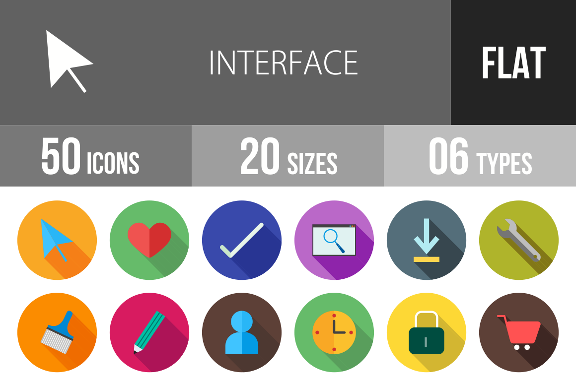 50 Interface Flat Shadowed Icons - Overview - IconBunny