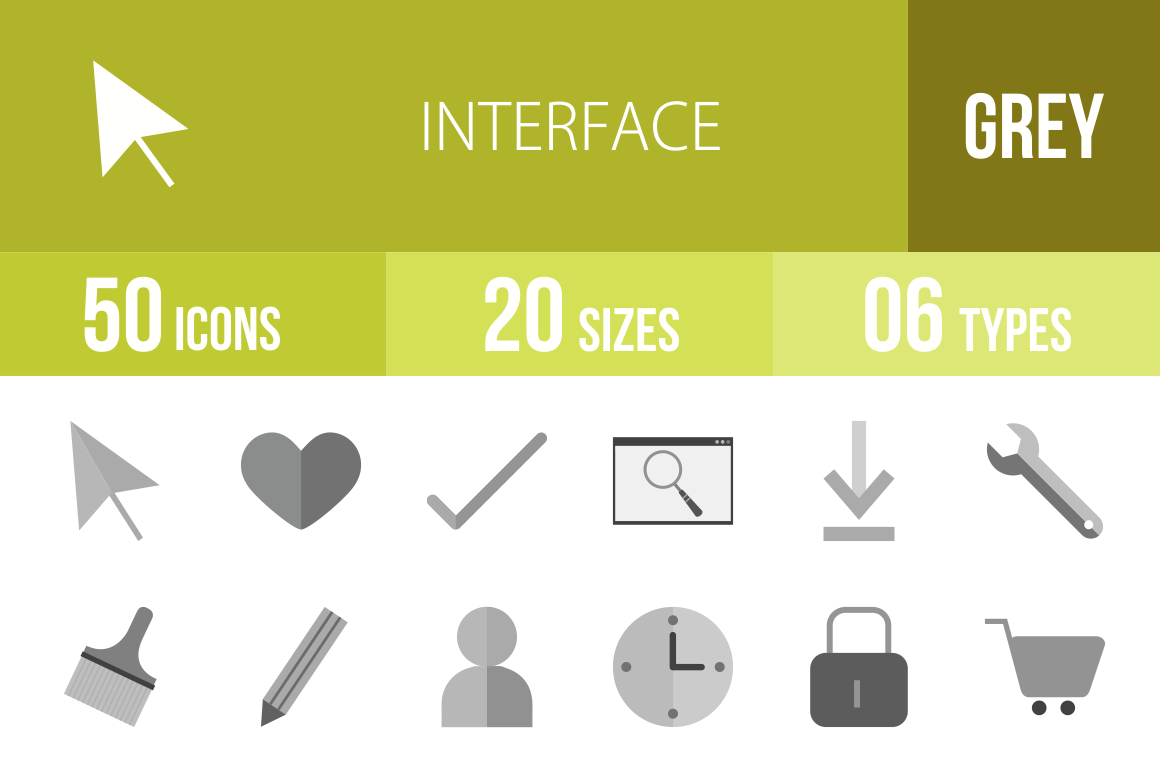 50 Interface Greyscale Icons - Overview - IconBunny