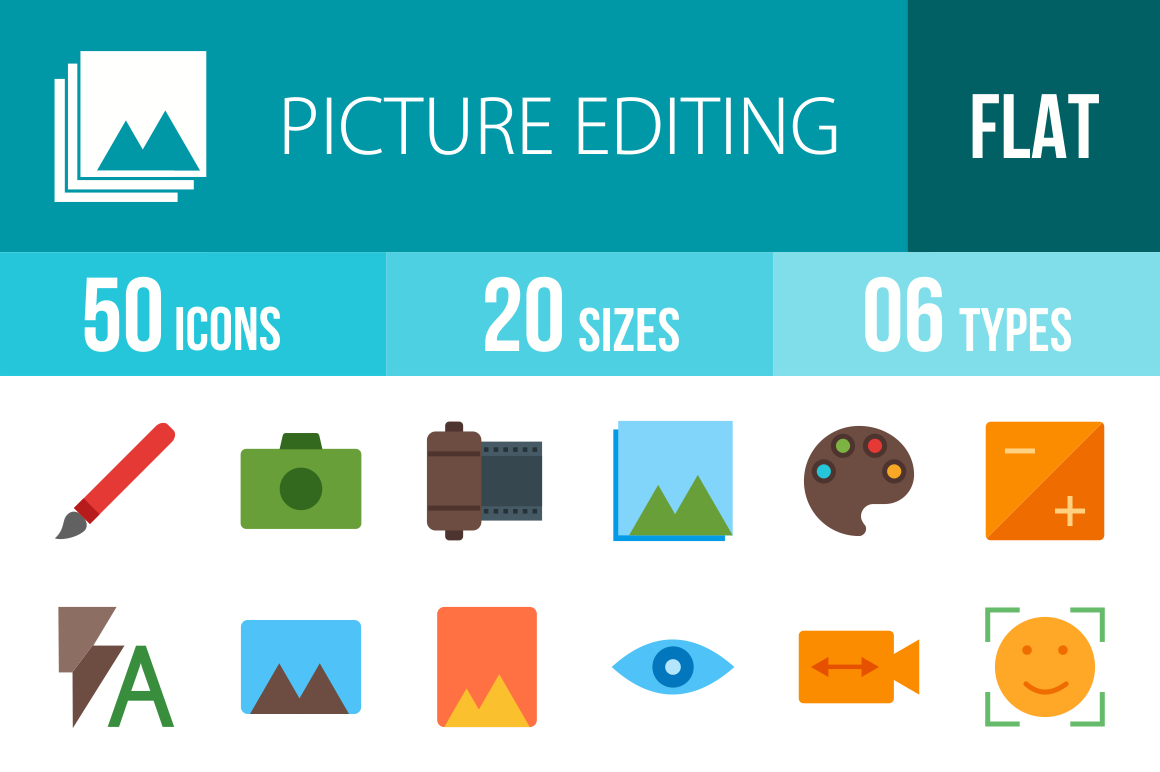 50 Picture Editing Flat Multicolor Icons - Overview - IconBunny