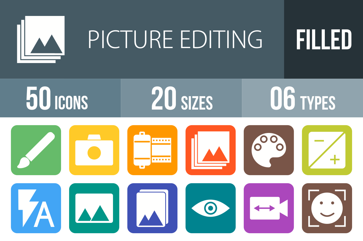 50 Picture Editing Flat Round Corner Icons - Overview - IconBunny