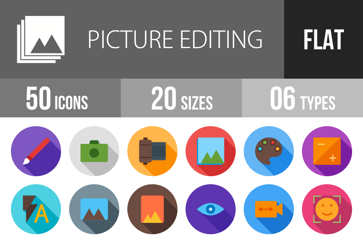 50 Picture Editing Flat Shadowed Icons - Overview - IconBunny