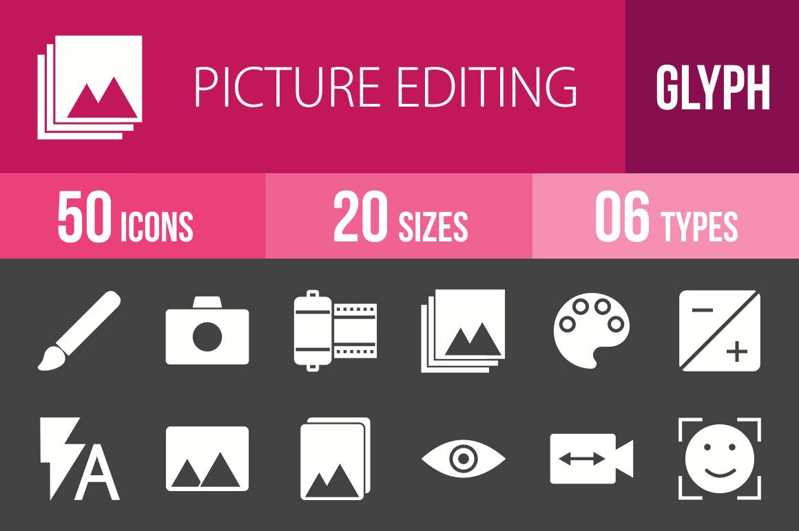 50 Picture Editing Glyph Inverted Icons - Overview - IconBunny