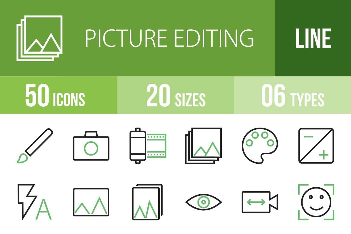 50 Picture Editing Line Green Black Icons - Overview - IconBunny