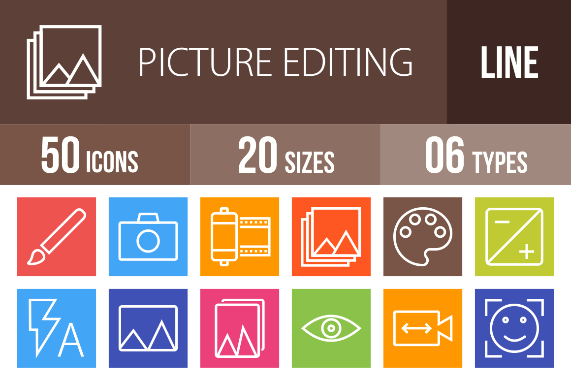 50 Picture Editing Line Multicolor B/G Icons - Overview - IconBunny