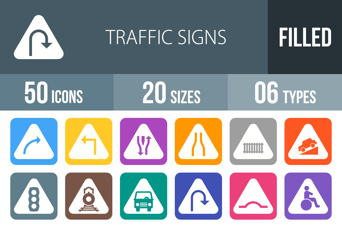 50 Traffic Signs Flat Round Corner Icons - Overview - IconBunny