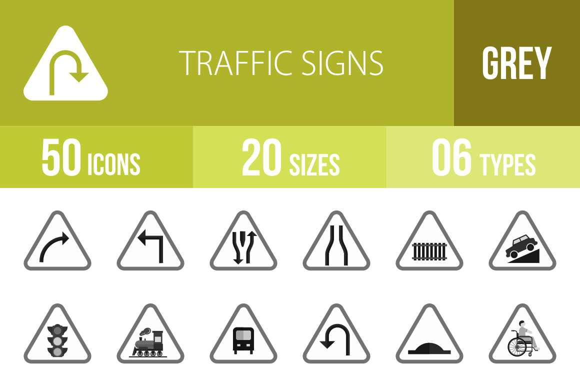 50 Traffic Signs Greyscale Icons - Overview - IconBunny
