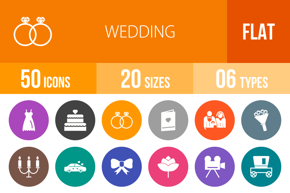 50 Wedding Flat Round Icons - Overview - IconBunny
