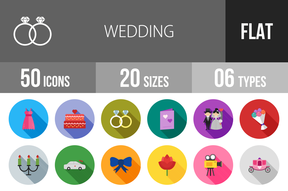 50 Wedding Flat Shadowed Icons - Overview - IconBunny