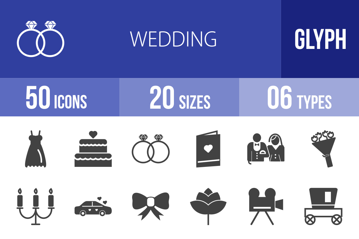 50 Wedding Glyph Icons - Overview - IconBunny