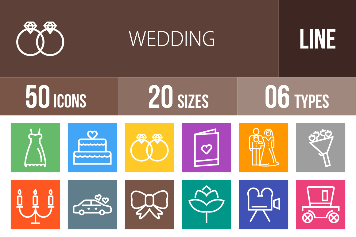 50 Wedding Line Multicolor B/G Icons - Overview - IconBunny