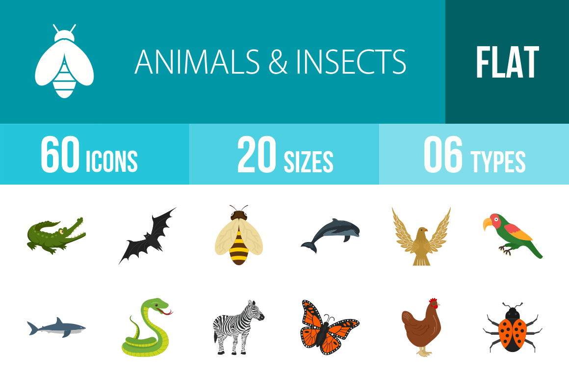 60 Animals & Insects Flat Multicolor Icons - Overview - IconBunny
