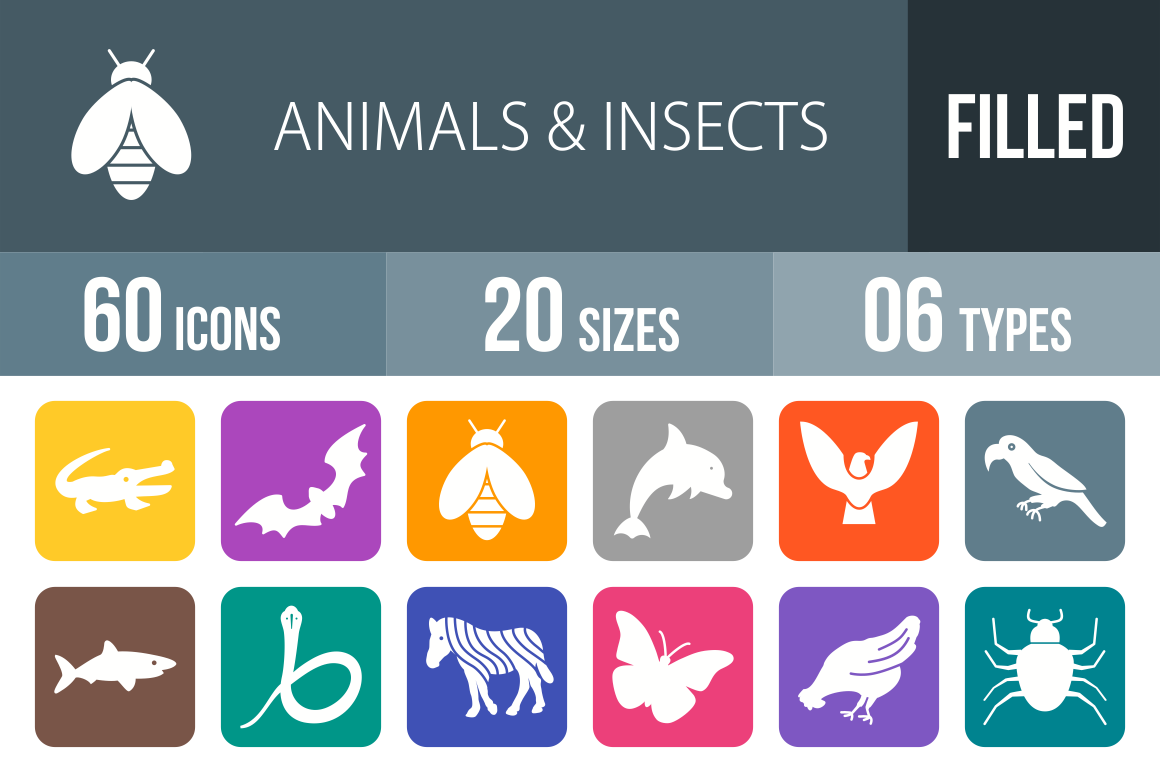 60 Animals & Insects Flat Round Corner Icons - Overview - IconBunny