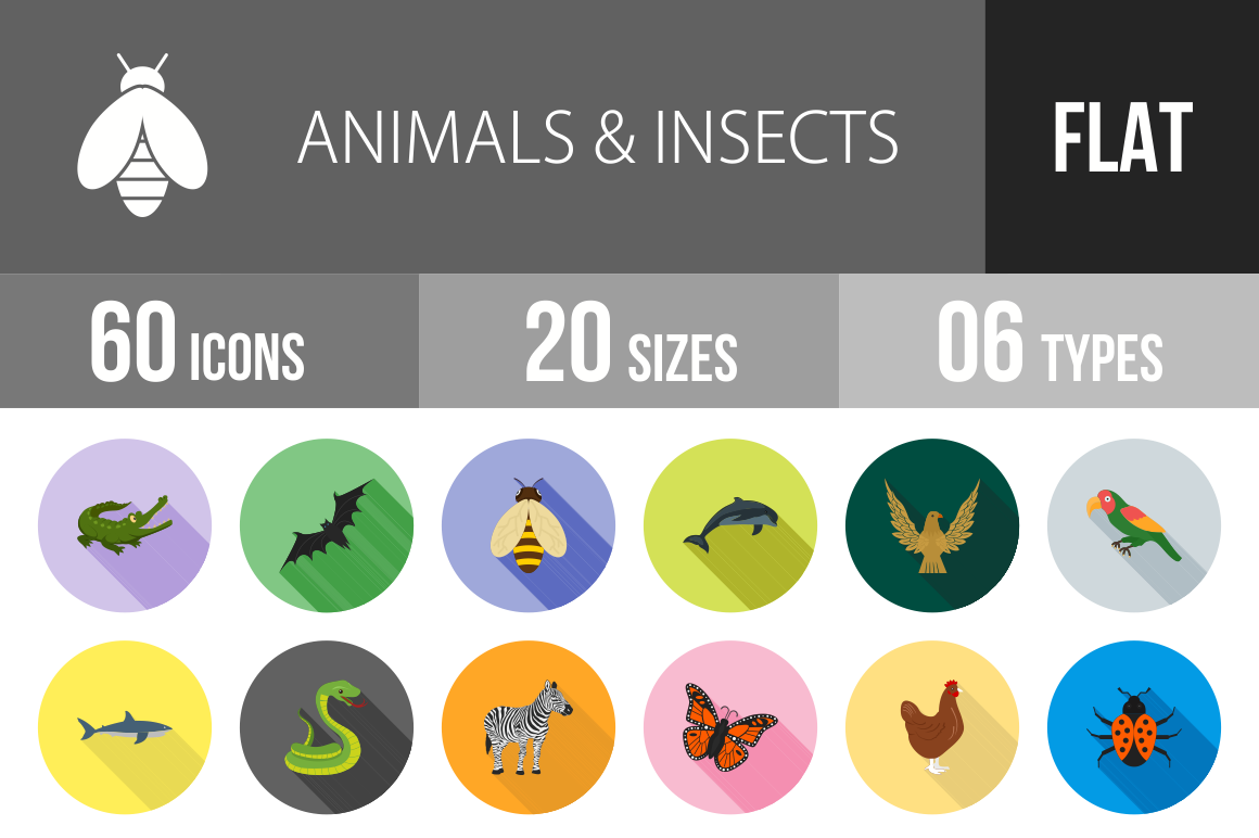 60 Animals & Insects Flat Shadowed Icons - Overview - IconBunny