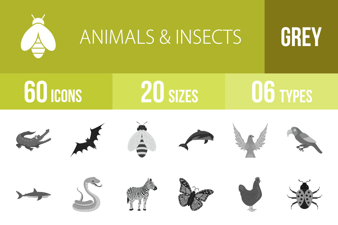60 Animals & Insects Greyscale Icons - Overview - IconBunny