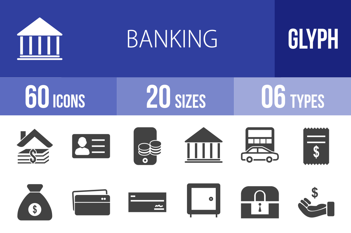 60 Banking Glyph Icons - Overview - IconBunny