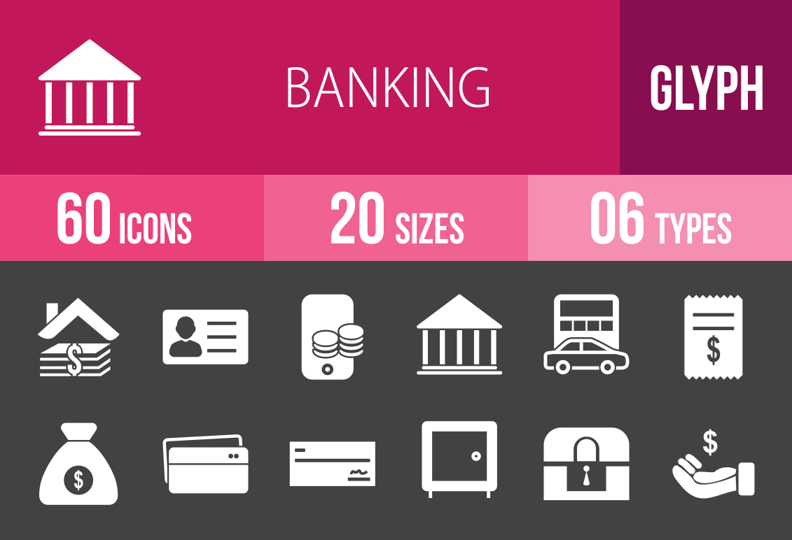 60 Banking Glyph Inverted Icons - Overview - IconBunny