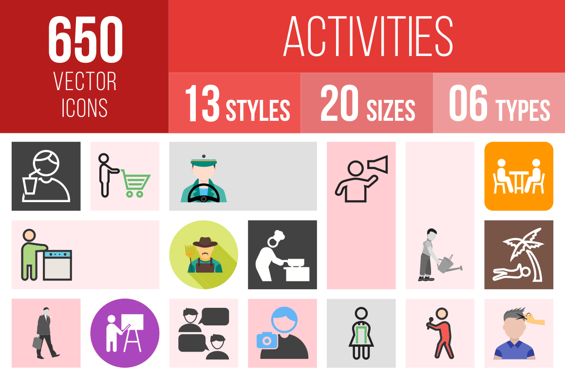 Activities Icons Bundle - Overview - IconBunny