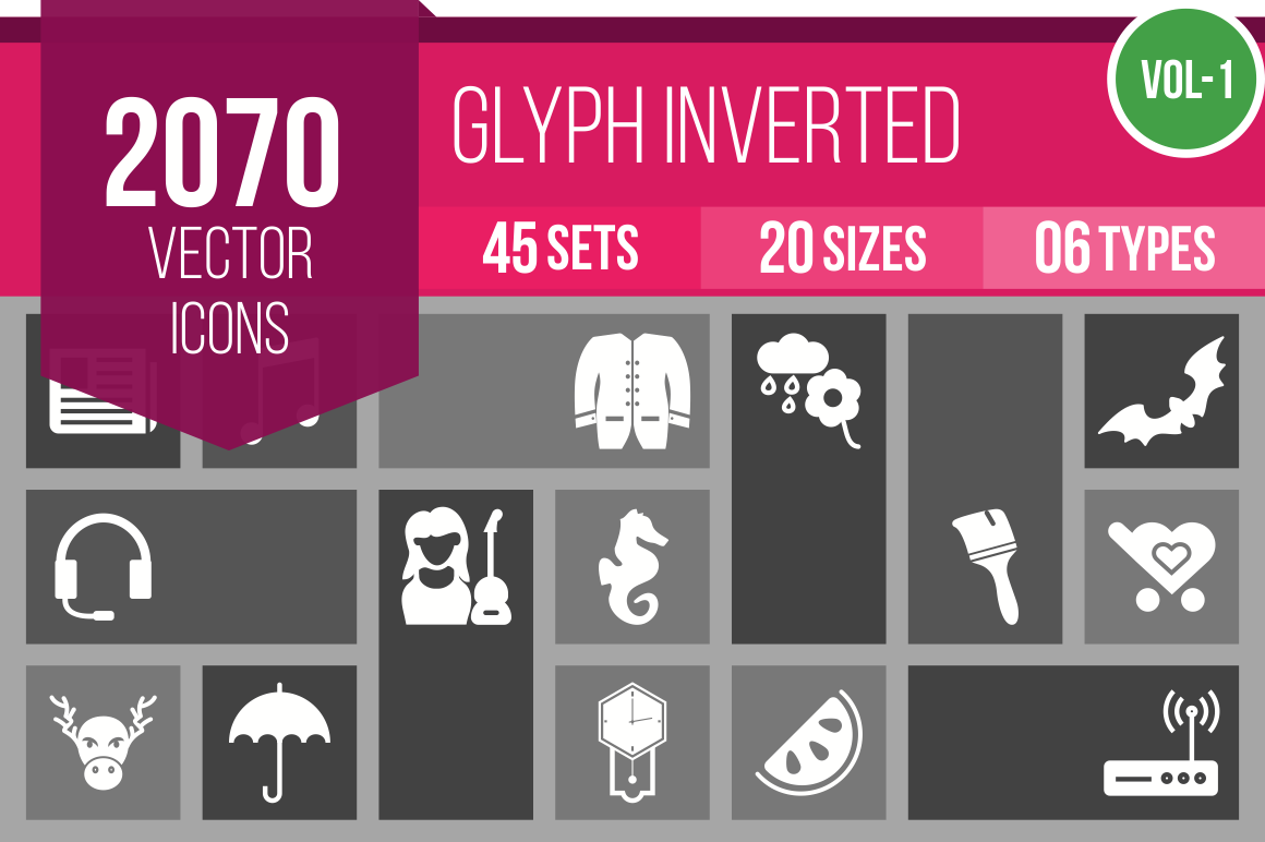 2070 Glyph Inverted Icons Bundle - Overview - IconBunny