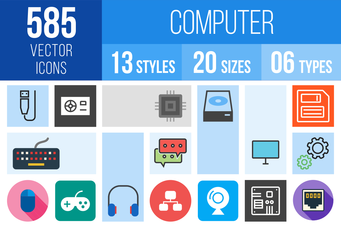 Computer & Hardware Icons Bundle - Overview - IconBunny