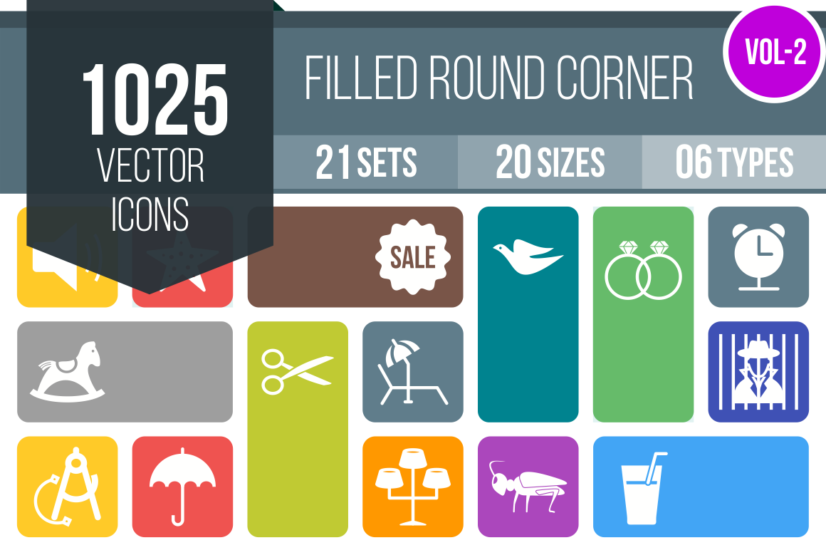 1025 Flat Round Corner Icons Bundle - Overview - IconBunny