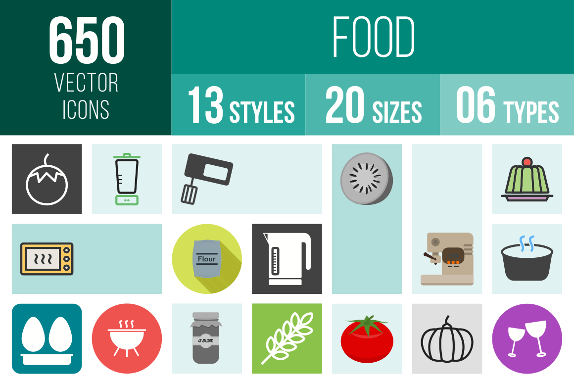 Food Icons Bundle - Overview - IconBunny