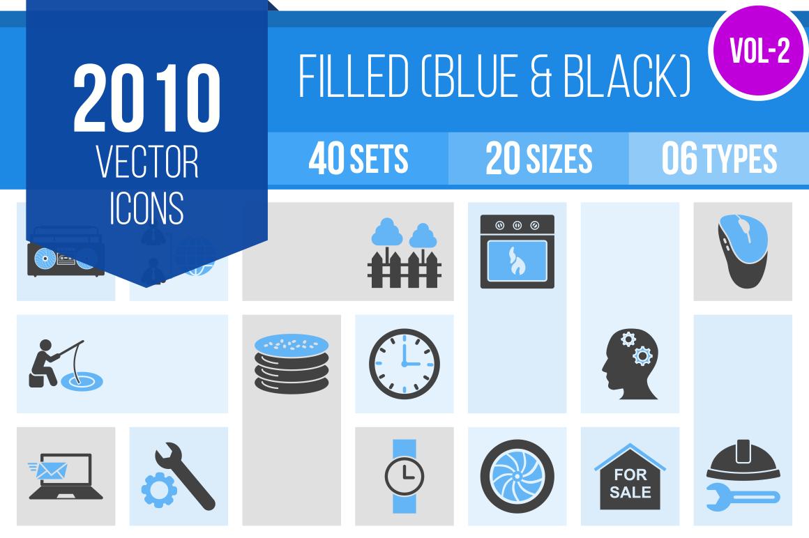2010 Blue & Black Icons Bundle - Overview - IconBunny