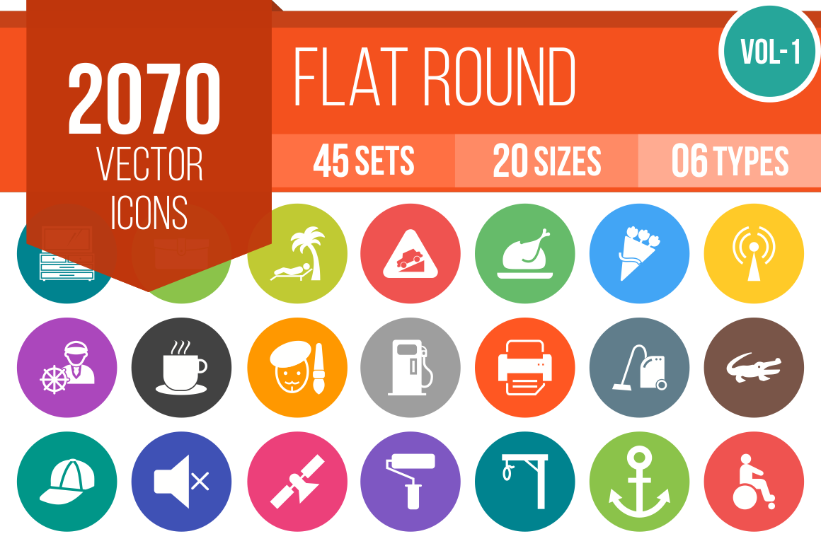 2070 Flat Round Icons Bundle - Overview - IconBunny