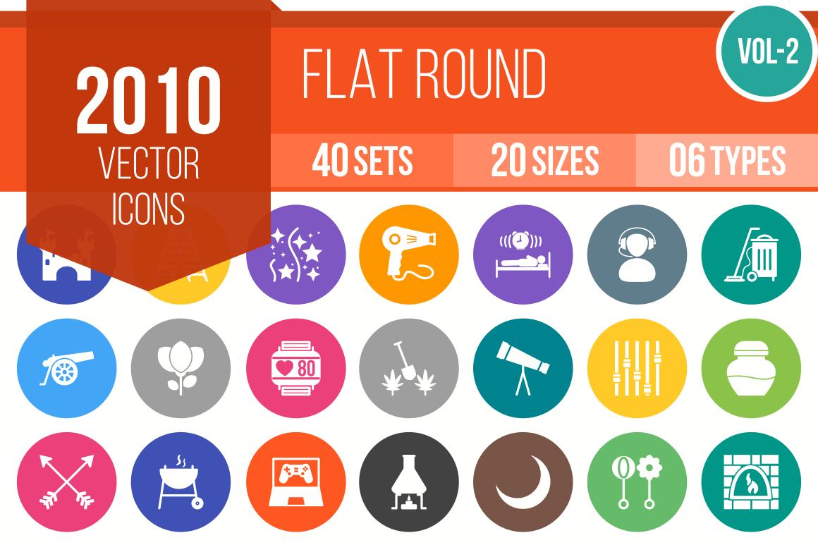 2010 Flat Round Icons Bundle - Overview - IconBunny